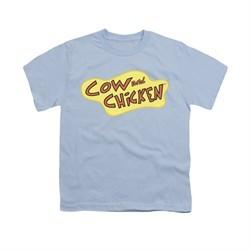 Cow & Chicken Shirt Kids Logo Light Blue Youth Tee T-Shirt