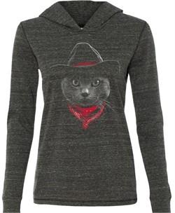 Cowboy Cat Ladies Tri Blend Hoodie