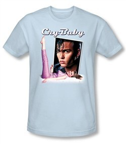 Cry Baby Slim Fit T-shirt Movie Title Adult Light Blue Tee Shirt