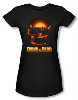 Dawn Of The Dead Juniors T-shirt Movie Dawn Collage Black Tee Shirt