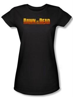 Dawn Of The Dead Juniors T-shirt Movie Dawn Logo Black Tee Shirt