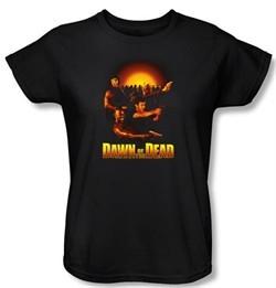 Dawn Of The Dead Ladies T-shirt Movie Dawn Collage Black Tee Shirt