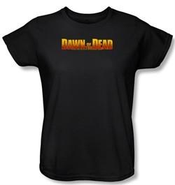Dawn Of The Dead Ladies T-shirt Movie Dawn Logo Black Tee Shirt