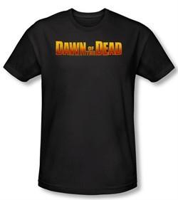 Dawn Of The Dead T-shirt Movie Dawn Logo Black Slim Fit Tee Shirt