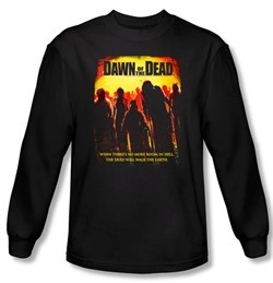 Dawn Of The Dead T-shirt Movie Title Black Long Sleeve Tee Shirt