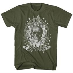 Def Leppard Shirt Skull Military Green T-Shirt