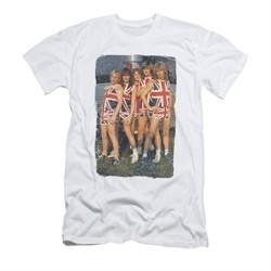 Def Leppard Shirt Slim Fit Flag Photo White T-Shirt