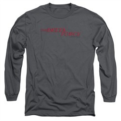 Delta Force Long Sleeve Shirt Distressed Logo Charcoal Tee T-Shirt