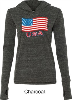 Distressed USA Flag Ladies Tri Blend Hoodie Shirt