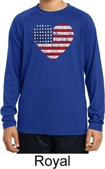 Distressed USA Heart Kids Dry Wicking Long Sleeve Shirt
