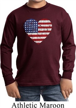 Distressed USA Heart Kids Long Sleeve Shirt