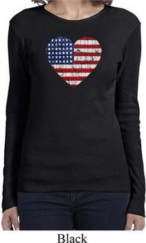 Distressed USA Heart Ladies Long Sleeve Shirt