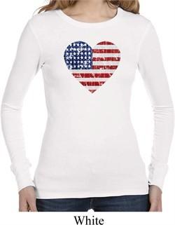 Distressed USA Heart Ladies Long Sleeve Thermal Shirt