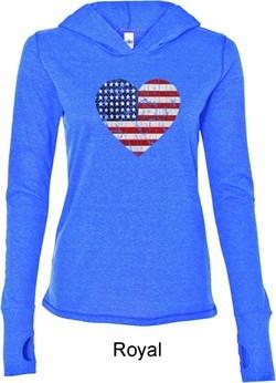 Distressed USA Heart Ladies Tri Blend Hoodie Shirt