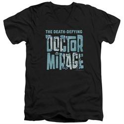 Doctor Mirage Slim Fit V-Neck Shirt Character Logo Black T-Shirt