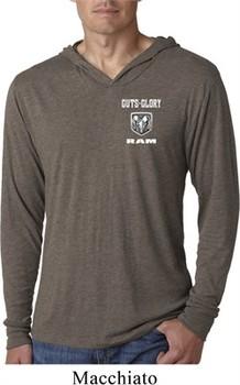 Dodge Guts and Glory Ram Logo Pocket Print Lightweight Hoodie Shirt