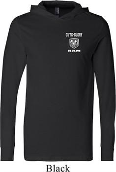 Dodge Guts and Glory Ram Logo Pocket Print Lightweight Hoodie Tee