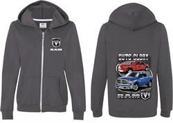 Dodge Guts Glory Ram Trucks (Front & Back) Ladies Full Zip Hoodie