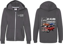 Dodge Ram Trucks (Front & Back) Ladies Full Zip Hoodie