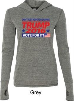 Donald Trump Shirt Vote For It Ladies Grey Tri Blend Hoodie