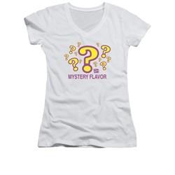 Dum Dums Shirt Juniors V Neck Mystery Flavor White T-Shirt