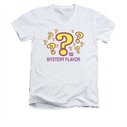 Dum Dums Shirt Slim Fit V-Neck Mystery Flavor White T-Shirt