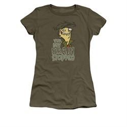 Ed, Edd N Eddy Shirt Juniors Brain Dead Ed Military Green Tee T-Shirt