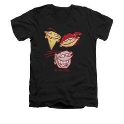 Ed, Edd N Eddy Shirt Slim Fit V Neck Three Heads Black Tee T-Shirt