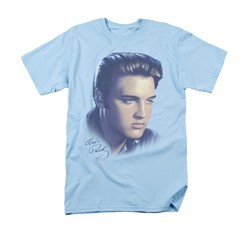 Elvis Presley Shirt Big Portrait Light Blue T-Shirt