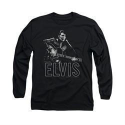Elvis Presley Shirt Guitar In Hand Long Sleeve Black Tee T-Shirt