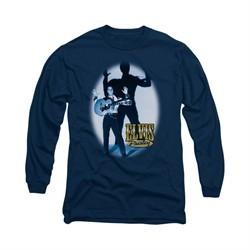 Elvis Presley Shirt Hands Up Long Sleeve Navy Tee T-Shirt