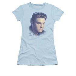 Elvis Presley Shirt Juniors Big Portrait Light Blue T-Shirt