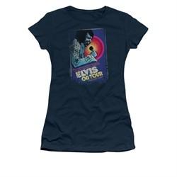 Elvis Presley Shirt Juniors On Tour Poster Navy T-Shirt