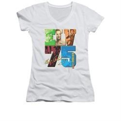 Elvis Presley Shirt Juniors V Neck 75 Year Birthday White T-Shirt
