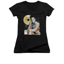 Elvis Presley Shirt Juniors V Neck Gold Record Black T-Shirt