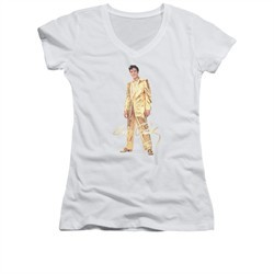 Elvis Presley Shirt Juniors V Neck Gold Suit White T-Shirt