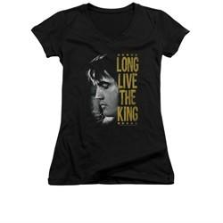 Elvis Presley Shirt Juniors V Neck Long Live Black T-Shirt