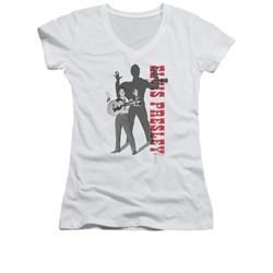 Elvis Presley Shirt Juniors V Neck Look No Hands White T-Shirt