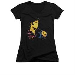 Elvis Presley Shirt Juniors V Neck Neon Outline Black T-Shirt