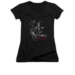 Elvis Presley Shirt Juniors V Neck Show Stopper Black T-Shirt