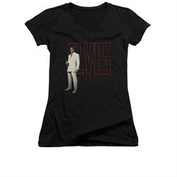 Elvis Presley Shirt Juniors V Neck White Suit Black T-Shirt