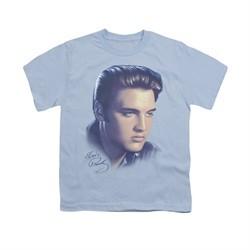 Elvis Presley Shirt Kids Big Portrait Light Blue T-Shirt