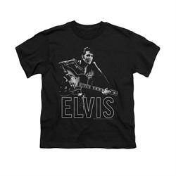 Elvis Presley Shirt Kids Guitar In Hand Black T-Shirt