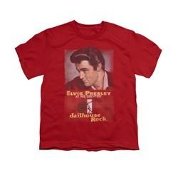 Elvis Presley Shirt Kids Jailhouse Rocker Poster Red T-Shirt
