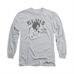 Elvis Presley Shirt Live In Memphis Long Sleeve Silver Tee T-Shirt