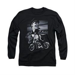 Elvis Presley Shirt Motorcycle Long Sleeve Black Tee T-Shirt