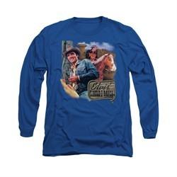 Elvis Presley Shirt Ranch Long Sleeve Royal Blue Tee T-Shirt