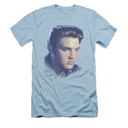 Elvis Presley Shirt Slim Fit Big Portrait Light Blue T-Shirt
