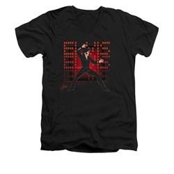 Elvis Presley Shirt Slim Fit V-Neck 69 Anime Black T-Shirt