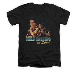 Elvis Presley Shirt Slim Fit V-Neck Can't Help Falling Black T-Shirt